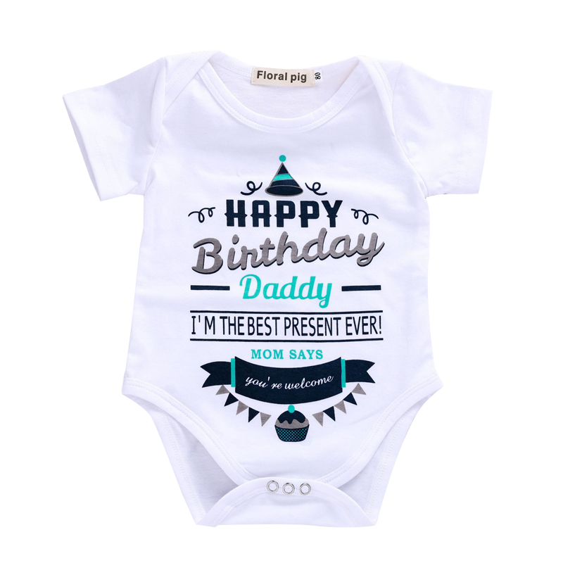 Baby Bodysuit Newborn Boy Girl Birthday Party Jumpsuit Happy Daddy Print Bodysuits Kids Boys Girls Clothes Summer
