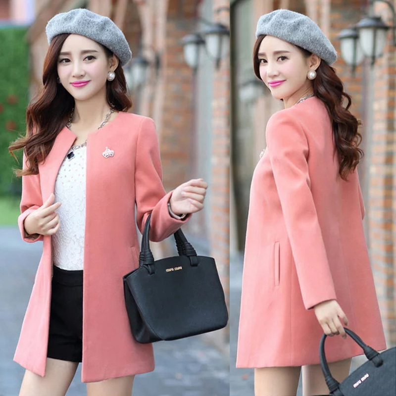 Spring, Autumn And Winter Women's New Round Neck Slim Thin Woolen Coat In The Long Paragraph Solid Color Windbreaker TB181015