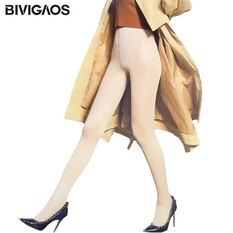 BIVIGAOS Nouveau Automne Hiver Chaud Leggings de Velours Épais Faux Transparent Nu Jambes Jambières Magiques Anti-crochet Sexy Legging Pantalon femmes