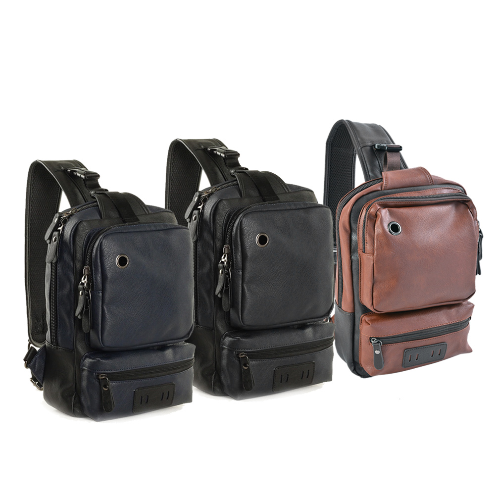 SHUJIN PU Leather Male Headphone hole Student chest Bag Large Capacity Leisure Outdoor Satchel Men's Sports shoulder bag Travel