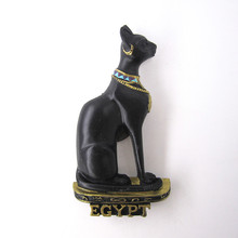 fridge magnet souvenir Ancient Egypt Countries Mythology Black Cat Animal Handpainted Resin refrigerator Magnets Sticker Crafts