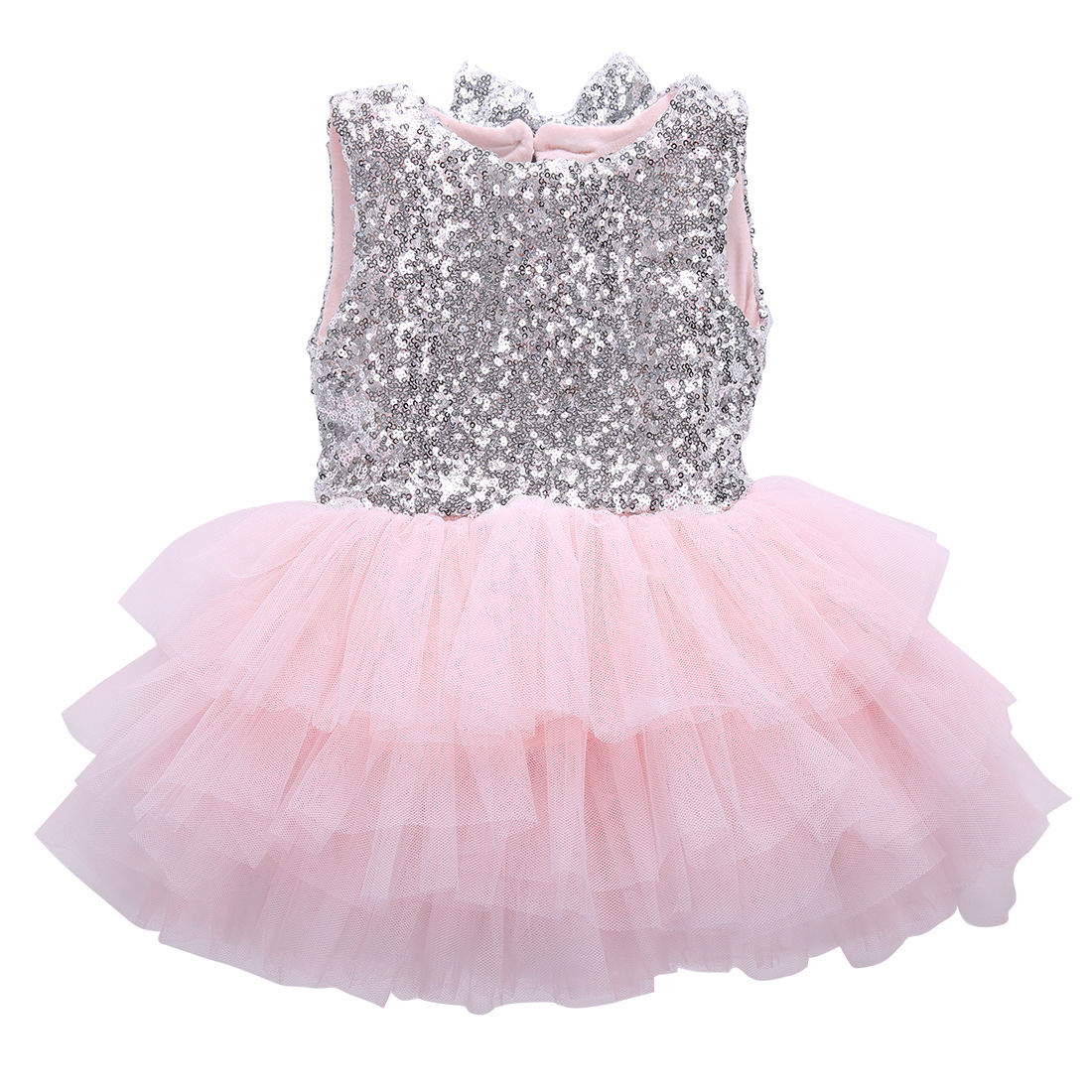 Infant Toddler Baby Girl Sequins Flower Dress Bow Lace Tulle Party Gown Formal Dresses Backless Sundress lilac tulle open back flower girl dresses with white lace and bow silver sequins kid tutu dress baby birthday party prom gown