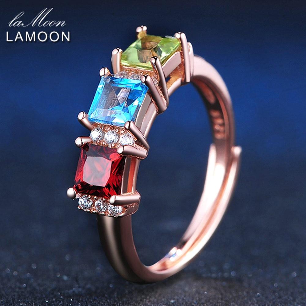 LAMOON 925 sterling-silver-jewelry Prsteny pro ženy 1.5ct Square Red Garnet & Green Peridot & Blue Topaz Svatební kapela Bijoux LMRI010