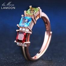 LAMOON 925 sterling-silver-jewelry Rings For Women 1.5ct Square Red Garnet&Green Peridot&Blue Topaz Wedding Band Bijoux LMRI010