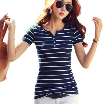 Женская хлопковая футболка большого размера, в полоску