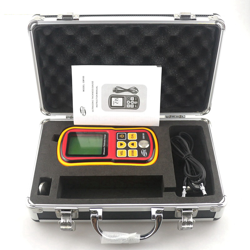 ФОТО GM100 1.2~225mm Ultrasonic Thickness Gauge Voice Sound Velocity Meter Measuring Instruments with Retail Box