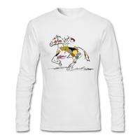 Horse Race T Shirt Custom Long Sleeve Men S T Shirt 2017 New Vintage Cotton Crewneck