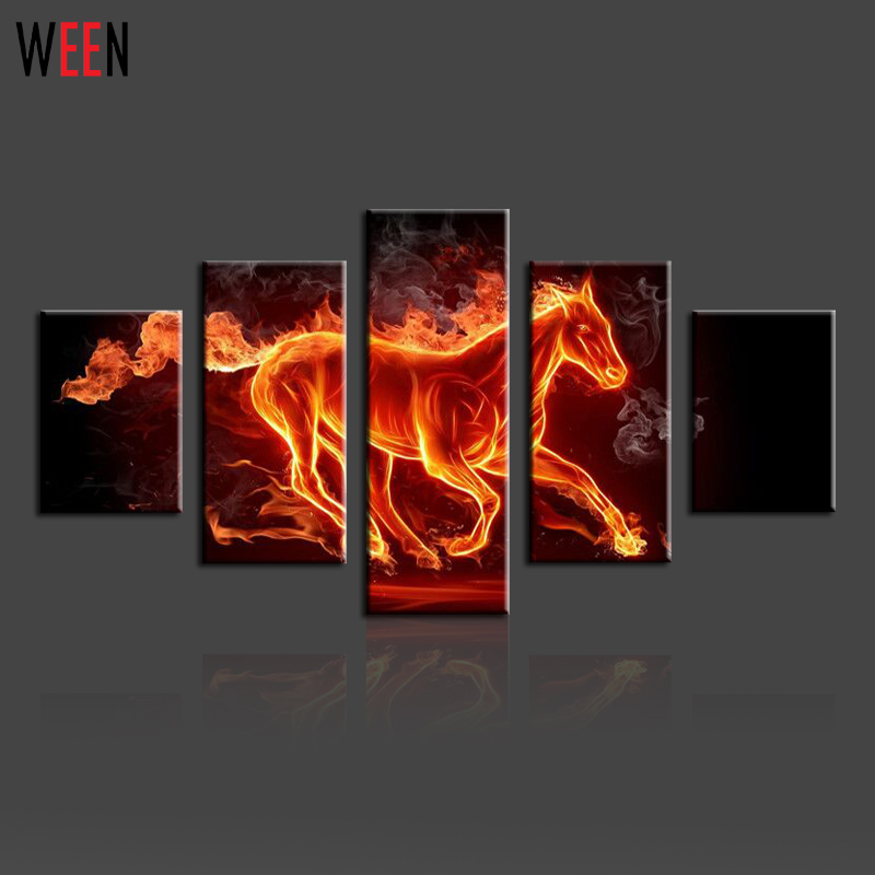 ween abstract hot horse canvas print painting modular paintings on the wall for living room wall art picture cheap - Cheap Canvas Wall Art