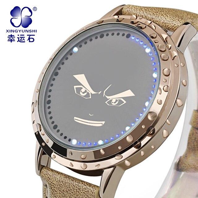 Сто тысяч плохие шутки Супер LED Вскользь Наручные Часы Марка Кожа Аналоговый Цифровые Часы Моды для Мужчин 2016 relojes hombre