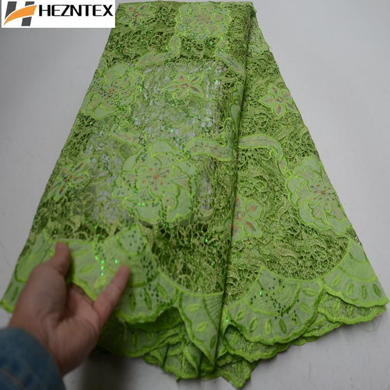 Best Quality African Guipure Lace Fabric Lemon Green High Quality Embroidery Cord Lace Fabric Sequins Laces For Party PSA490 1-in Lace from Home & Garden    1