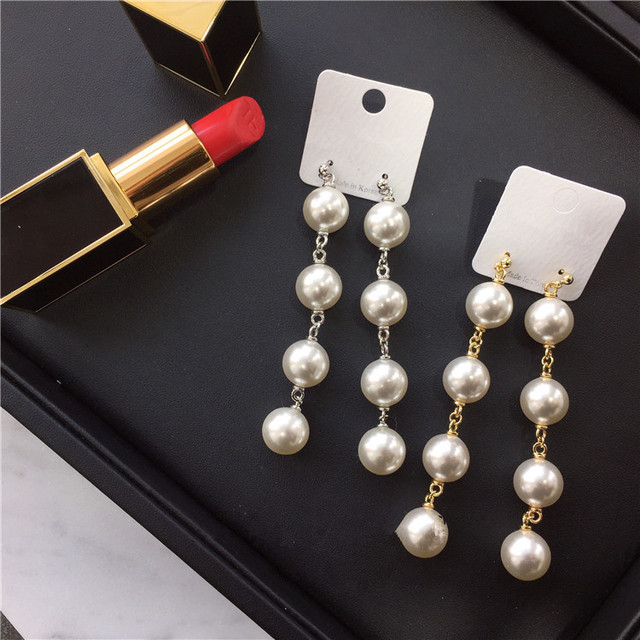 2017 New Fashion Simulated Pearl Jewelry Dangle Earrings Long Chain Drop Earring