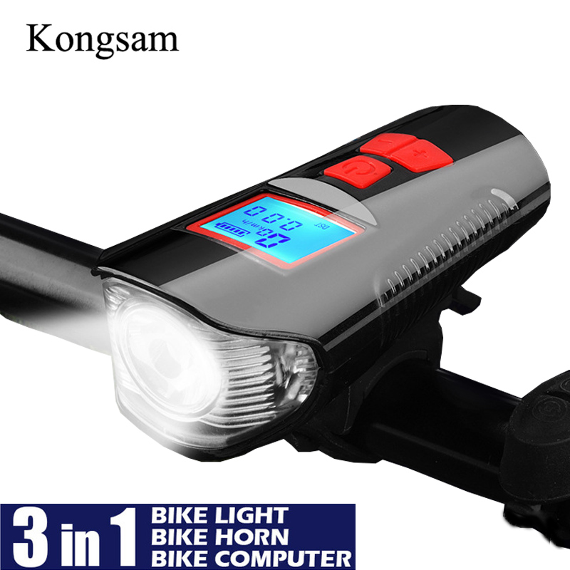 Bicycle Light USB Rechargeable Speedometer Front Headlight LED Bike Tail Light
