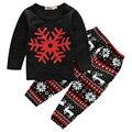 EE.UU. stock Niños Pequeños Niños Niñas Bebés Trajes Rojo del Copo de nieve de Navidad de Manga Larga T-shirt Tank Top Negro + Pantalones Ropa de Bebé conjunto
