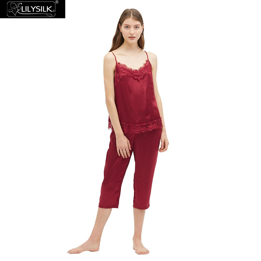LilySilk Silk Camisole Set with Lace Trim 22MM Exotic Sleepwear Women's Clothing Free Shipping