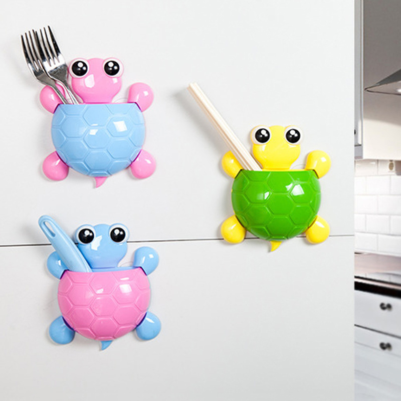 Cute Design Cartoon Turtle Toothbrush Holder Sucker Hook Turtle Children Tooth Brush Holder Bathroom Toothpaste Accessories image