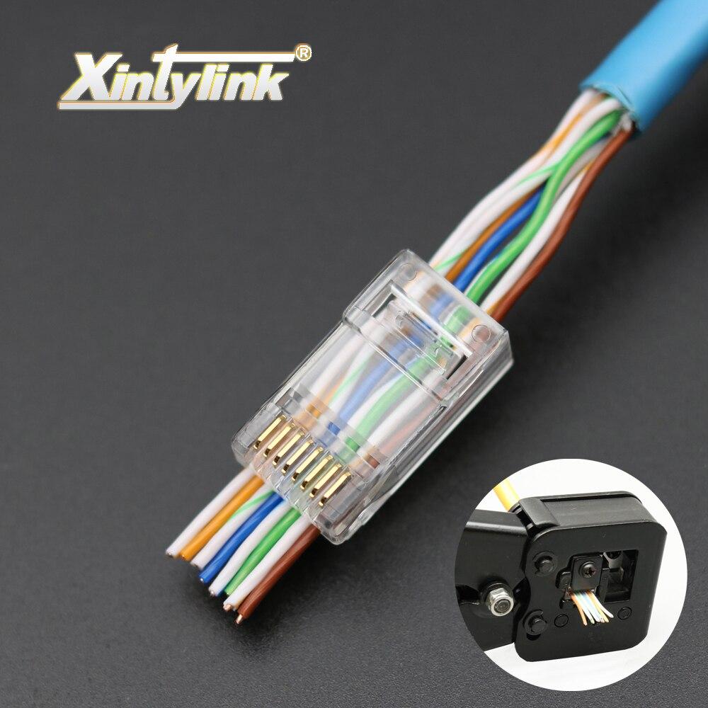 Xintylink 50 шт. EZ rj45 разъем rj45 разъем cat6 сетевой разъем 8P8C с позолотой неэкранированный модульный utp терминалы есть отверстие
