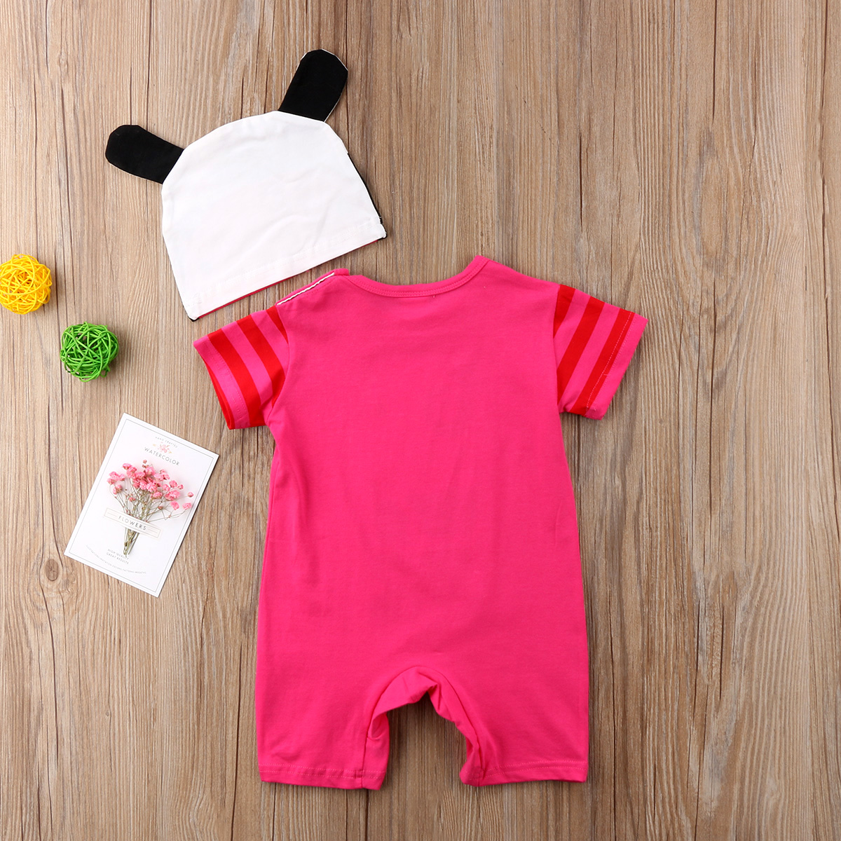 CANIS 2Pcs Lovely Baby Clothing Newborn Infant Baby Girl Boy Romper 3D Cows Short Sleeve Romper Hat Jumpsuit Clothes