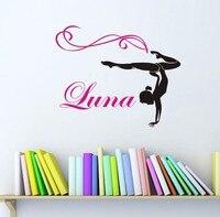Personalized Name Dance Vinyl Wall Decal Customer Girl Gymnast Gymnastics Dance Wall Sticker Bedroom Decorative Decoration