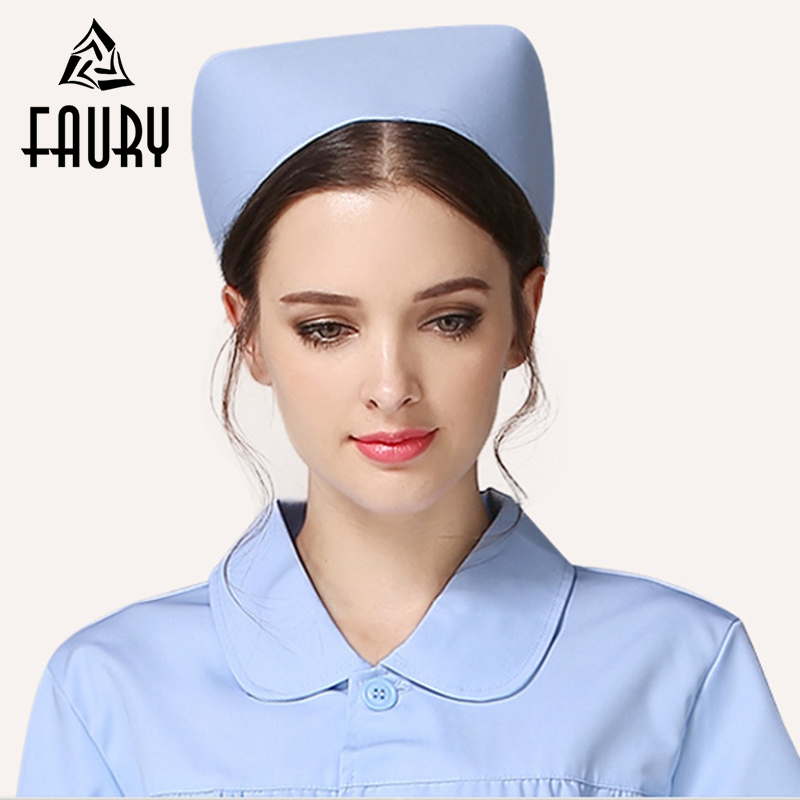 Women Round Cap White Blue Pink Dovetail Hat Hospital Surgical Doctor Practice Head Nurse Cap Profession Medical Supplies
