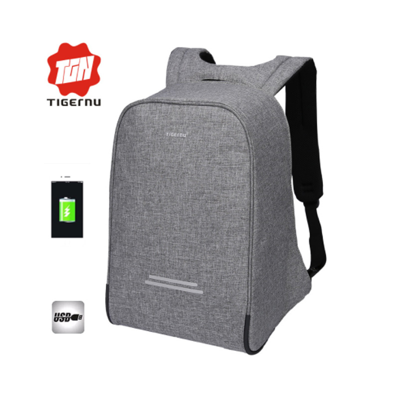 2017 Tigernu Waterpoof Anti-thief USB charging Backpack Business Mochina Black Mens Backpacks Preppy Style Backpack mochila