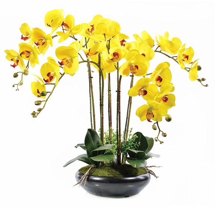 리얼 터치 노란 꽃 꽃다발 꽃꽂이 잎 난초 결혼식 - 휴일 파티 용품