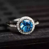 LANZYO 925 Sterling silver blue topaz Ring fashion gift for women jewelry blue topaz ring Fine Jewelry j060601agb