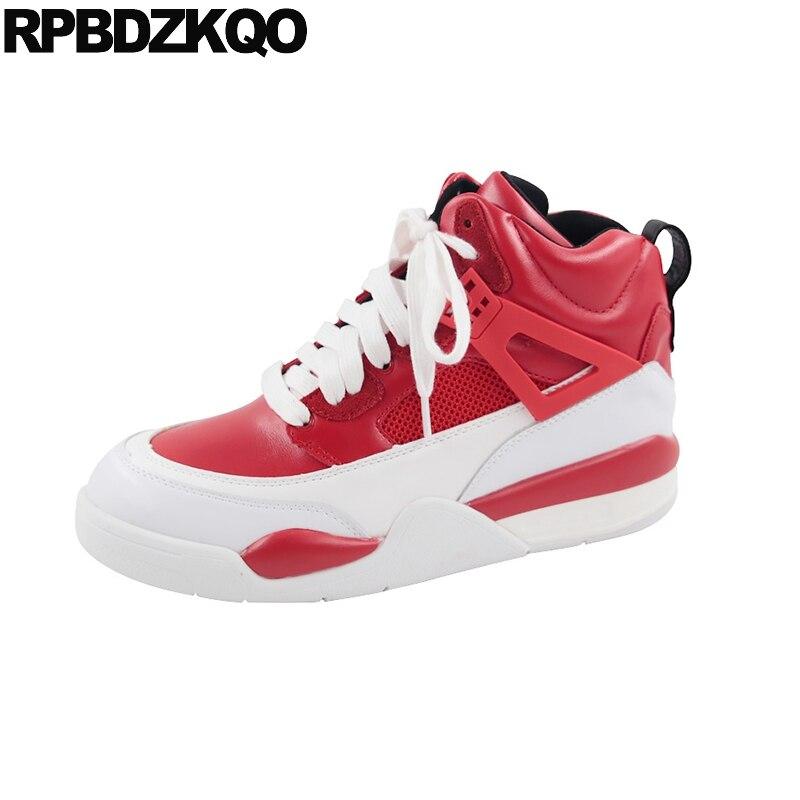 989bd188cc642d Avant Cuir Plate Sneakers Cheville Lacent Bottes Casual Marque Véritable  Femme En Rouge Automne rouge Femmes forme Noir Flatform Rond Muffin ...