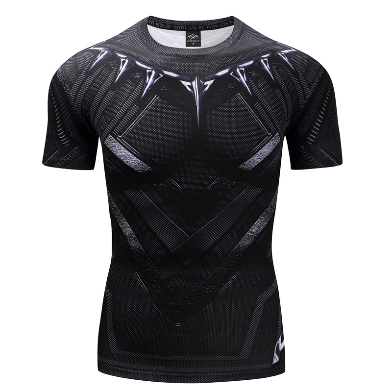 Men's T-shirt Black Panther Captain Men's Gyms Short sleeve T-shirt Role-playing Fitness Slim T-shirt  Gyms Brand fitness Tops