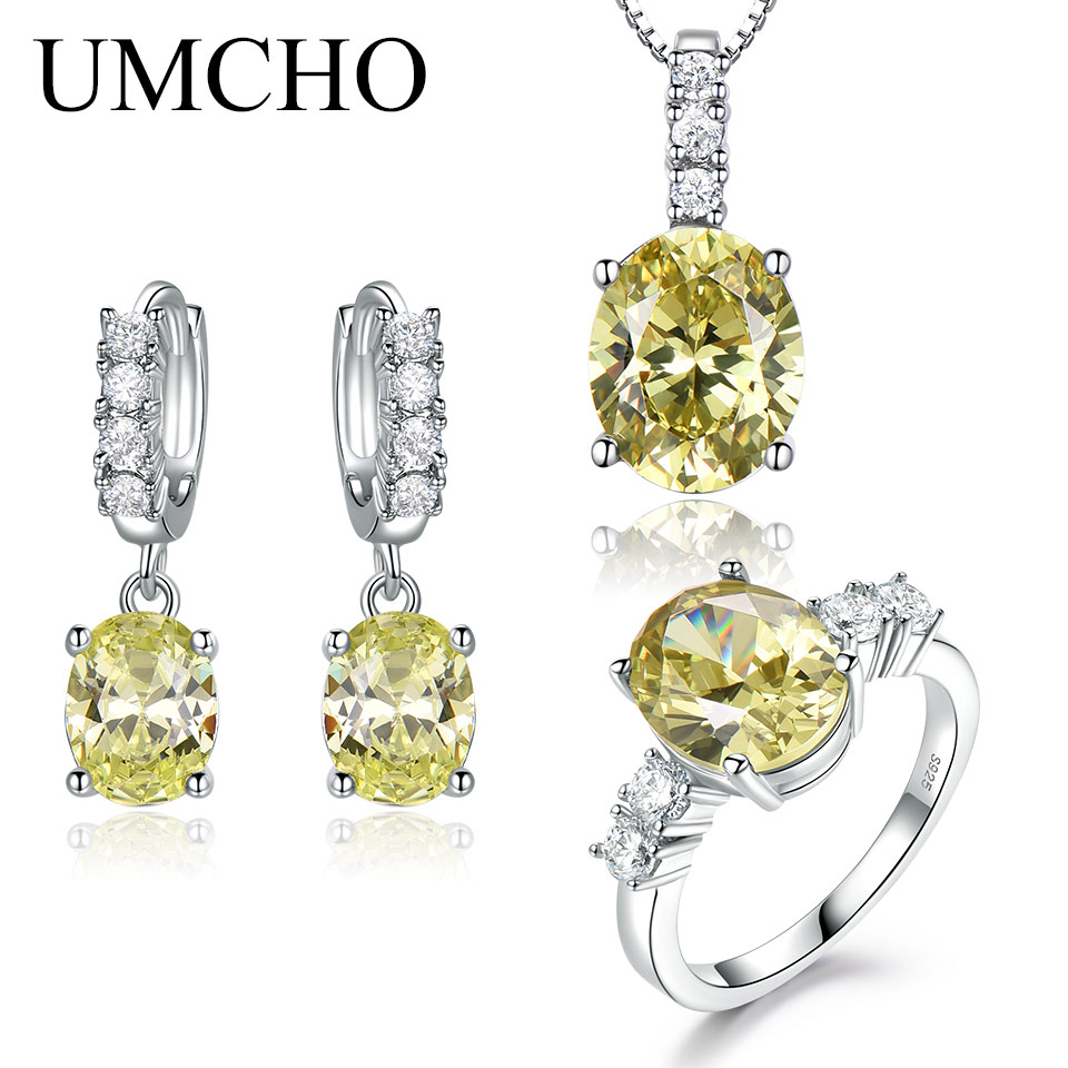 UMCHO Nano Topaz Yellow Gemstone Set Ring Earrings Necklace for Women Wedding Party Gift 925 Sterling Silver Fine Jewelry Set