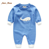 2015 New Autumn Baby Clothes Lovely Animal Print One Piece Sweater Romper Newborn Cardigan