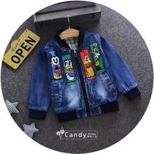 Spring 2017 Boy and Girls Outerwear Coat print Cartoon  Casual Denim Jacket little Children Clothes Cowboy long sleeved Tops 053