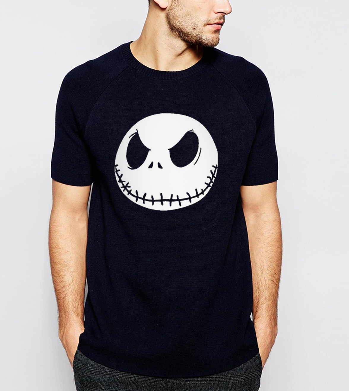 nightmare before christmas cartoon Jack Skellington Men   T     Shirt   Grimace 2019 Summer New 100% Cotton Hip Hop Streetwear   T  -  Shirt