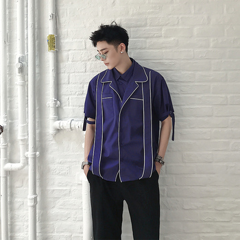 2018  New style fashion collar men's short sleeve  popular logo vertical lines simple street art men's wear