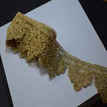 2YARDS,5YDS,10YDS/LOT Wedding Dress Beaded Lace Applique Gold Thread Embroidery Lace Accessories Trim 2018011401 SOMELACE