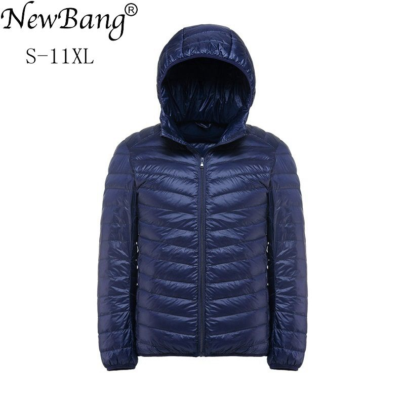 Image 1 - NewBang Plus 11XL 10XL 9XL 8XL Down Coat Male Ultra Light Down Jacket Men Windbreaker Feather Lightweigt Hooded Winter Parka-in Down Jackets from Men's Clothing