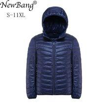 Newbang plus 11xl 10xl 9xl 8xl para baixo casaco masculino ultra leve para baixo jaqueta homem blusão pena lightweigt com capuz inverno parka