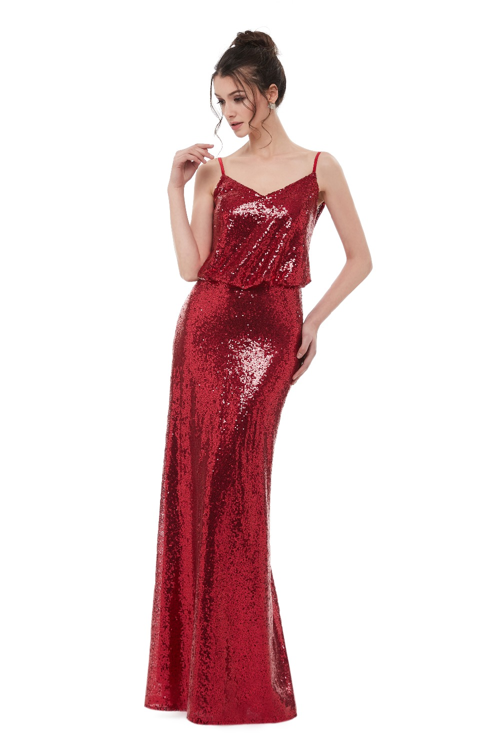 Elegant Wine Red Sequins Spaghetti Straps Long Bridesmaid Dress