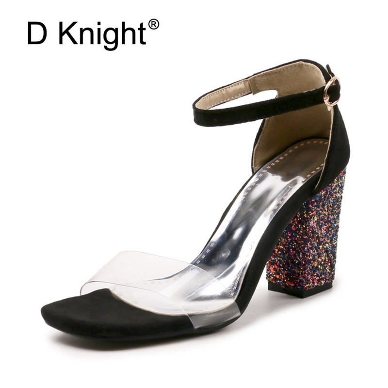 Women Transparent Sandals Plus Size 30-52 Fashion Summer Buckle Strap High Heel Pumps Woman Shoes Bling Square Heel Lady Sandals xiaying smile summer woman sandals square heel women slippers slides shoes women pumps fashion casual bling crystal women shoes