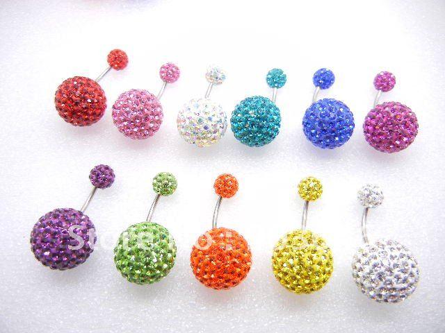 Free shippment 12PCS Body Jewelry-16g Double full Crystal gems Earring/Ear Studs/Navel Belly Button Balls 12mm