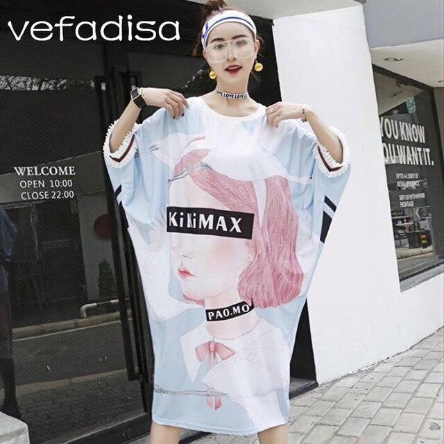 Vefadisa Plus Size Dress 2018 Oversized Clothing Batwing Sleeve