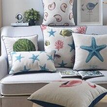Funda de cojín marina mediterránea Vintage, funda de almohada con pez estrellado, funda de almohada con pez Coral, decoración de lino y algodón, funda de almohada para sofá