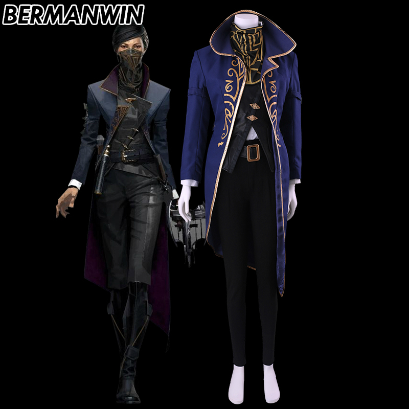 BERMANWIN High Quality Dishonored 2 Costume Emily Kaldwin Costume Full Set Game Halloween Women Adult Carnival Cosplay Costume