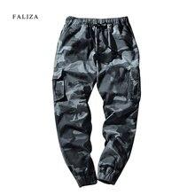 ef42fce4 FALIZA 2018 Новый Для мужчин; натуральный хлопок лодыжки объединились брюки  Для мужчин Jogger Slim Fit камуфляжные брюки мужские.