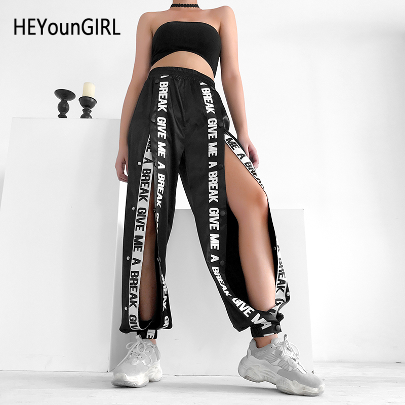 HEYounGIRL Split Casual Loose Black Pants Capris Elastic High Waist Trousers Women Letter Print High Street Sweatpants Joggers