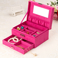 Fashion Women Jewelry Organizer Box Ornaments Gift Display Flannel Wood Rings Necklace Carrying Cases Casket Boxes Free Shipping