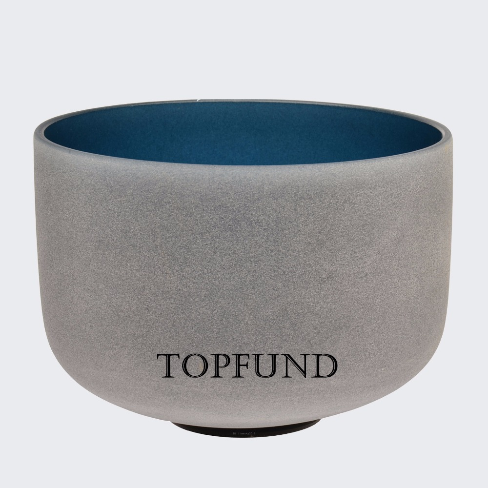 TOPFUND Indigo Color Frosted Quartz Crystal Singing Bowl 10 432HZ Perfect Pitch A Third Eye Chakra With Free Mallet and O-Ring topfund red color perfect pitch c adrenals chakra frosted quartz crystal singing bowl 10 with free mallet and o ring