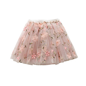 Image 4 - Flower Embroidery Kids skirts for Girls Pettiskirt Children Mesh Skirt Princess Baby tutu skirts Spring and summer