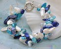 "FREE SHIPPING>>>@@ > 01394 2row 8"" baroque tail white blue green pearl crystal bracelet"
