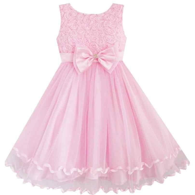 Sunny Fashion Vestidos Niña Rosado Rosa Corbata De Moño Cinturón Boda Fiesta De Cumpleaños Niños Ropa