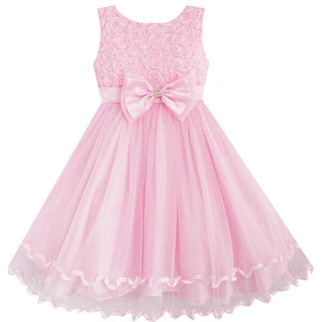e7890f93a Flower Girl Dress Pink Rose Bow Tie Belt Wedding Birthday Party Kids ...